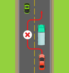 lorry overtaking ban flat diagram vector image