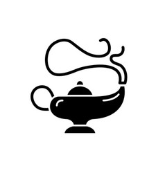 magic lamp black icon sign on isolated vector image