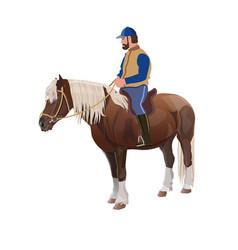 man riding a horse vector image