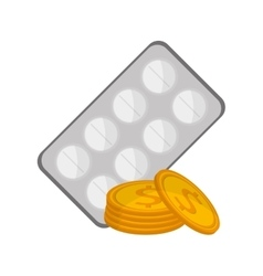 medicine tablets and money coin icon vector image