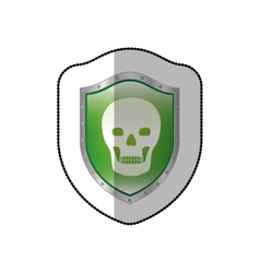 Middle shadow sticker of skull in shield vector