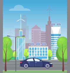modern city with skyscrapers and roads cars vector image