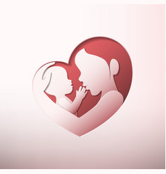 Mother holding a bain heart shaped silhouette vector