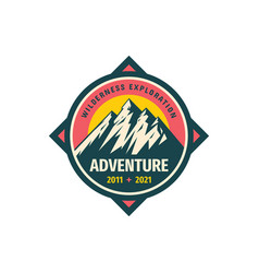 Mountain adventure badge design wilderness vector