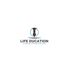 Old pen - logo for education and knowledge vector
