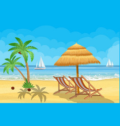 paradise beach sea with yachts vector image
