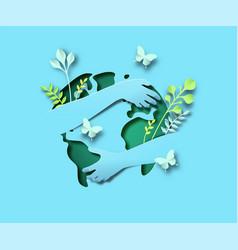 People arm hugging green leaf world map papercut vector