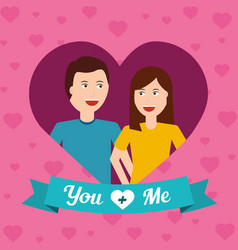 portrait happy couple love with heart background vector image