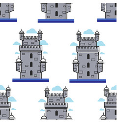 portugal brick tower architecture and landmark vector image