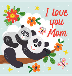 poster with cute panda mother and ba vector image