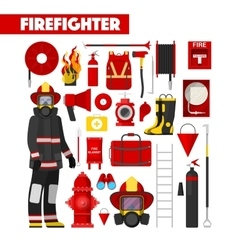 Profession Firefighter Icons Set with Equipment vector