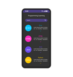 Programming learning smartphone interface template vector