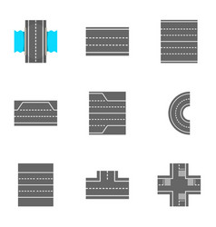 roads icons set cartoon style vector image