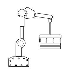 robotic hand manipulator black color path icon vector image