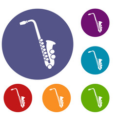 saxophone icons set vector image