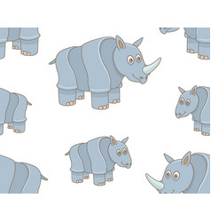 seamless pattern with rhinoceros vector image