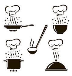 Set cooking process images vector