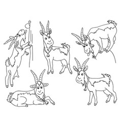 set of cute cartoons goats vector image