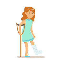 Sick kid with cast on leg feeling unwell suffering vector
