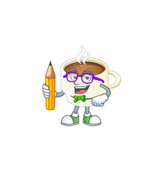 Student character cup coffee in cartoon mascot vector
