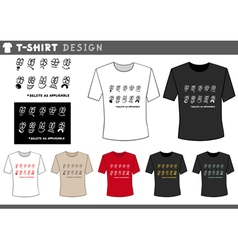 T shirt design with emoticons vector