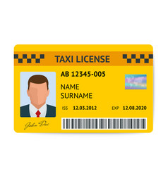 Taxi license symbol document vector