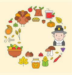 thanksgiving icon arrange as circle frame shape vector image