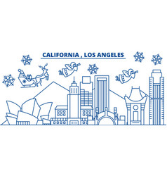 Usa california los angeles winter city skyline vector
