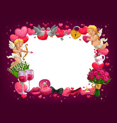 valentines day love hearts flowers and cupids vector image