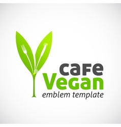 Vegan Cafe Concept Symbol Icon or Logo Template vector image