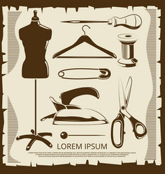 vintage elements for tailor labels - scissors vector image