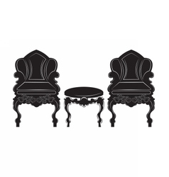 Vintage Gothic style armchair and table furniture vector image