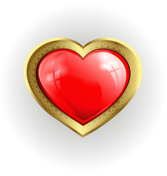 Volumetric red heart with gold border vector