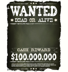 wanted vintage western poster on chalkboard vector image