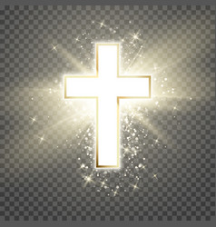 White cross with golden frame and shine symbol of vector