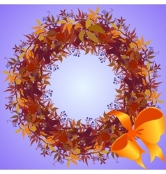 Wild grape wreath and ribbon with bow circle frame vector