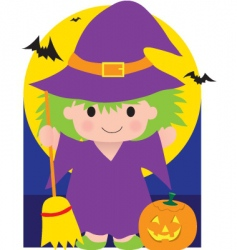 witch kid vector image
