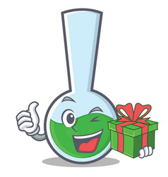 With gift tube laboratory character cartoon vector