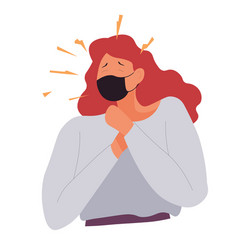 woman coughing through mask coronavirus infection vector image