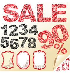 Word SALE numerals and letters are made of floral vector image