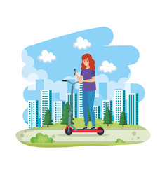 Young woman in folding scooter on landscape vector