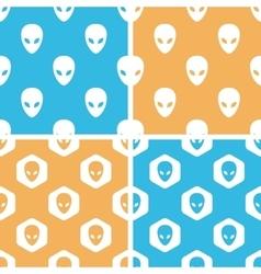 Alien pattern set colored vector image vector image