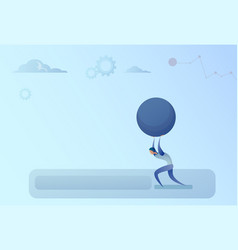business man carry big stone credit debt finance vector image vector image