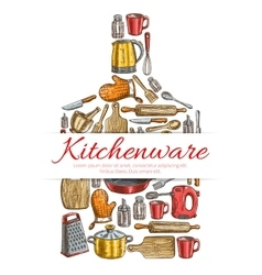 Kitchenware sign in shape of cutting board vector image vector image