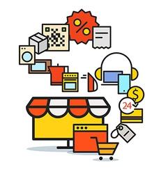 Modern web commerce scheme Flat design shopping vector image