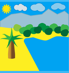 beach by the ocean with palm and blue sky vector image vector image