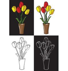 flowers tulips in vase vector image vector image