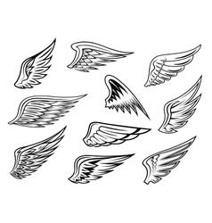 Heraldic wings set vector image vector image