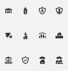 Set of simple insurance icons vector