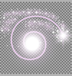 spiral with particle dust purple color vector image